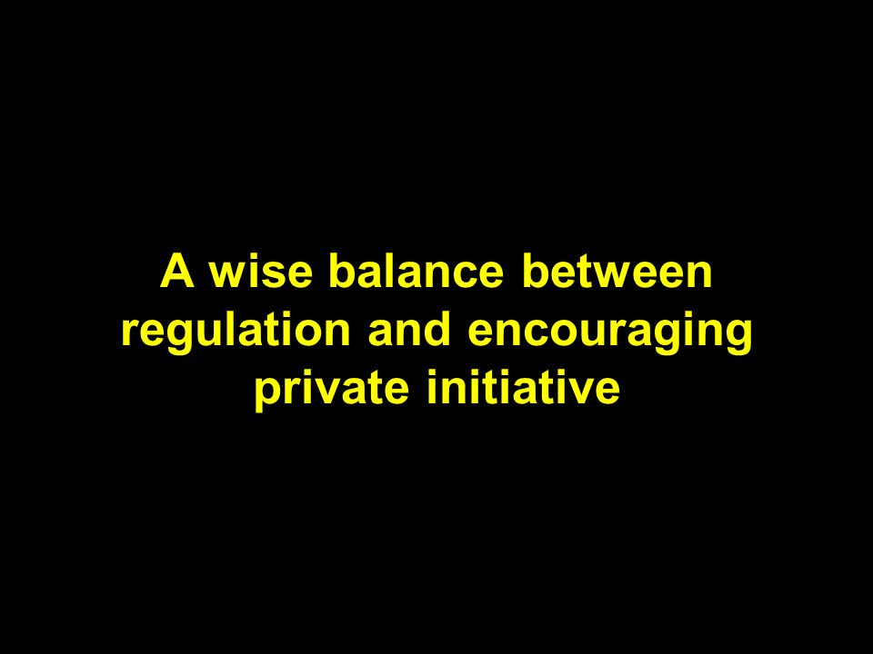 A wise balance between regulation and encouraging private initiative