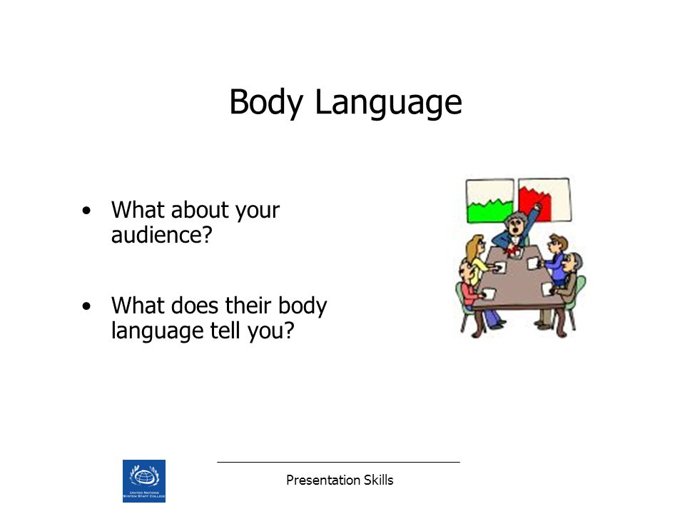 Presentation Skills What about your audience What does their body language tell you Body Language