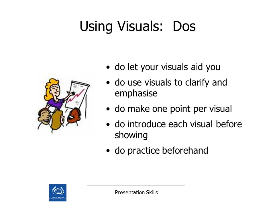 Presentation Skills Using Visuals: Dos do let your visuals aid you do use visuals to clarify and emphasise do make one point per visual do introduce each visual before showing do practice beforehand