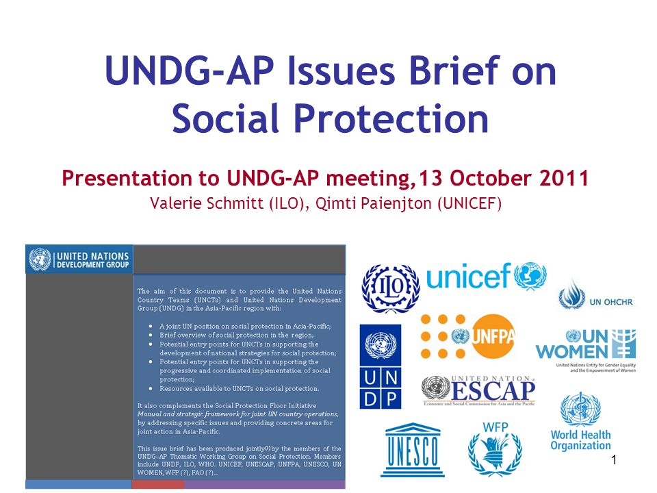 1 UNDG-AP Issues Brief on Social Protection Presentation to UNDG-AP meeting,13 October 2011 Valerie Schmitt (ILO), Qimti Paienjton (UNICEF)