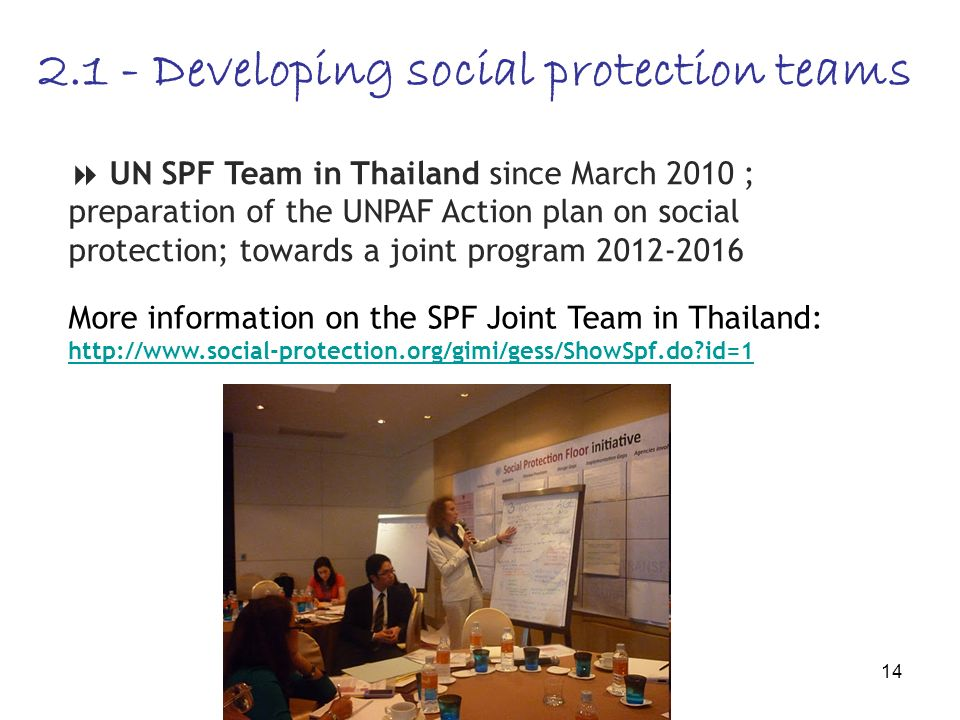 14 2.1 - Developing social protection teams UN SPF Team in Thailand since March 2010 ; preparation of the UNPAF Action plan on social protection; towards a joint program 2012-2016 More information on the SPF Joint Team in Thailand: http://www.social-protection.org/gimi/gess/ShowSpf.do id=1