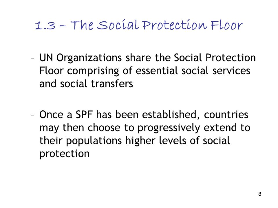 8 1.3 – The Social Protection Floor –UN Organizations share the Social Protection Floor comprising of essential social services and social transfers –Once a SPF has been established, countries may then choose to progressively extend to their populations higher levels of social protection