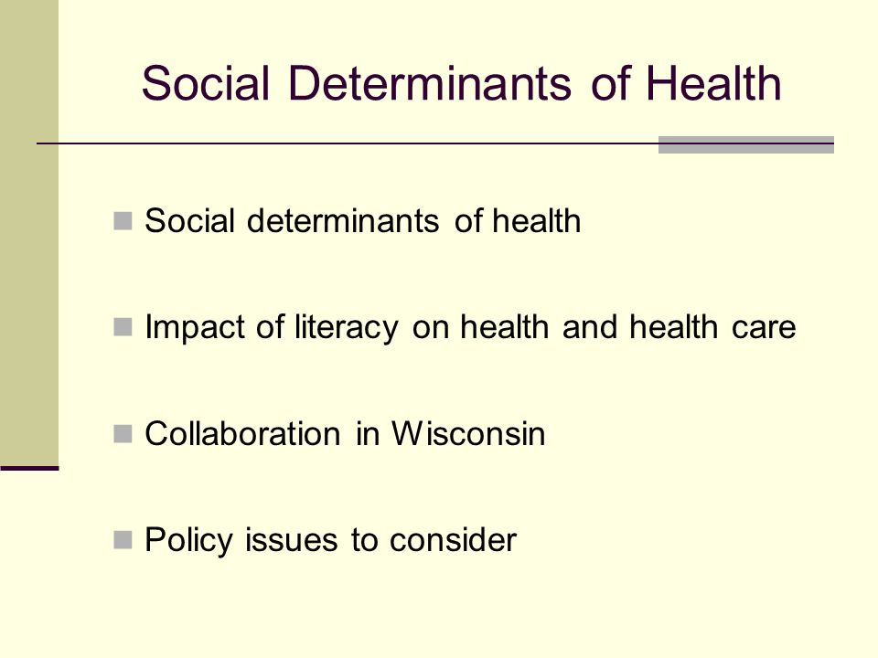 Social Determinants of Health Social determinants of health Impact of literacy on health and health care Collaboration in Wisconsin Policy issues to consider