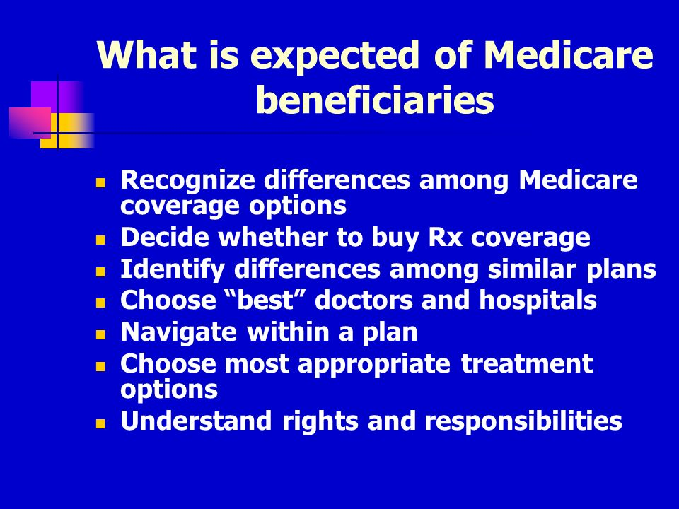What is expected of Medicare beneficiaries Recognize differences among Medicare coverage options Decide whether to buy Rx coverage Identify differences among similar plans Choose best doctors and hospitals Navigate within a plan Choose most appropriate treatment options Understand rights and responsibilities