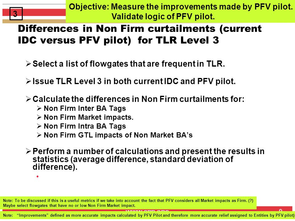 www.spp.org 9 Differences in Non Firm curtailments (current IDC versus PFV pilot) for TLR Level 3 Select a list of flowgates that are frequent in TLR.