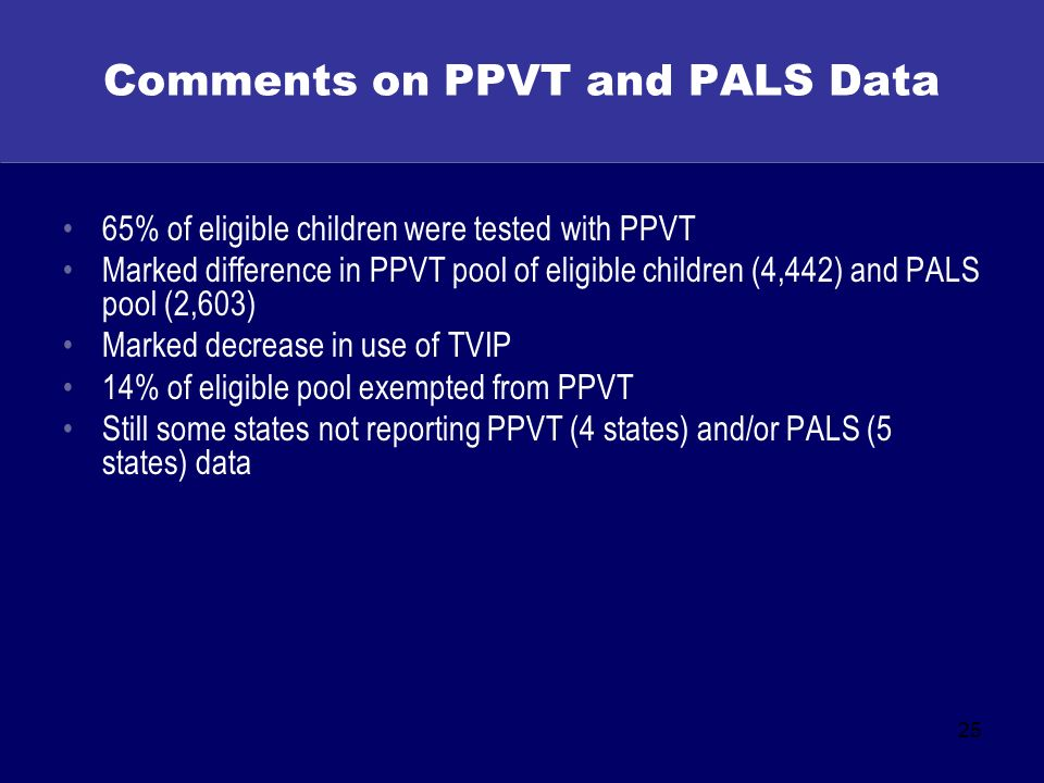 25 Comments on PPVT and PALS Data 65% of eligible children were tested with PPVT Marked difference in PPVT pool of eligible children (4,442) and PALS pool (2,603) Marked decrease in use of TVIP 14% of eligible pool exempted from PPVT Still some states not reporting PPVT (4 states) and/or PALS (5 states) data