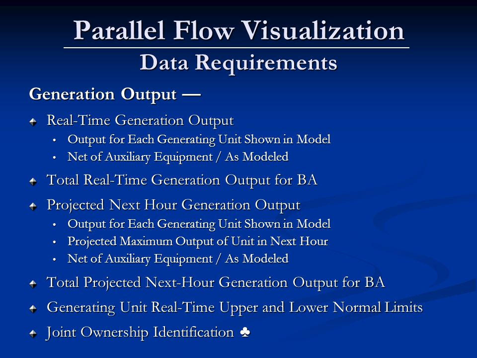 Parallel Flow Visualization Data Requirements Generation Output Generation Output Real-Time Generation Output Output for Each Generating Unit Shown in Model Output for Each Generating Unit Shown in Model Net of Auxiliary Equipment / As Modeled Net of Auxiliary Equipment / As Modeled Total Real-Time Generation Output for BA Projected Next Hour Generation Output Output for Each Generating Unit Shown in Model Output for Each Generating Unit Shown in Model Projected Maximum Output of Unit in Next Hour Projected Maximum Output of Unit in Next Hour Net of Auxiliary Equipment / As Modeled Net of Auxiliary Equipment / As Modeled Total Projected Next-Hour Generation Output for BA Generating Unit Real-Time Upper and Lower Normal Limits Joint Ownership Identification Joint Ownership Identification