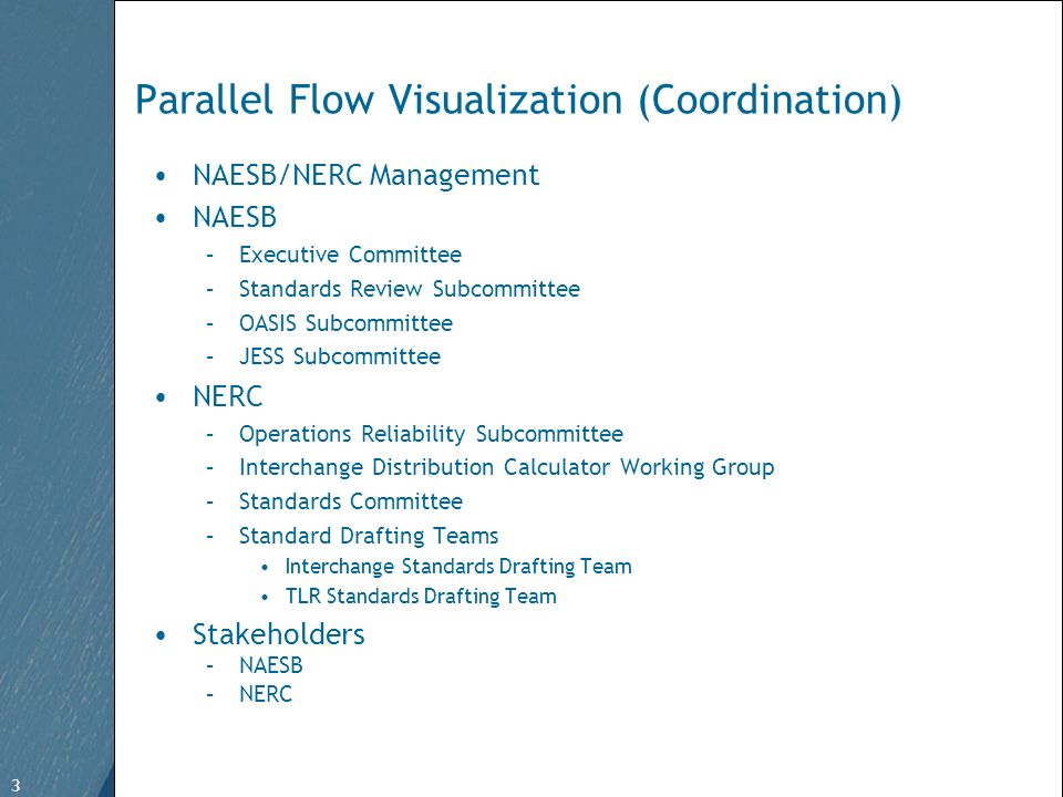 3 Free Template from   3 Parallel Flow Visualization (Coordination) NAESB/NERC Management NAESB –Executive Committee –Standards Review Subcommittee –OASIS Subcommittee –JESS Subcommittee NERC –Operations Reliability Subcommittee –Interchange Distribution Calculator Working Group –Standards Committee –Standard Drafting Teams Interchange Standards Drafting Team TLR Standards Drafting Team Stakeholders –NAESB –NERC