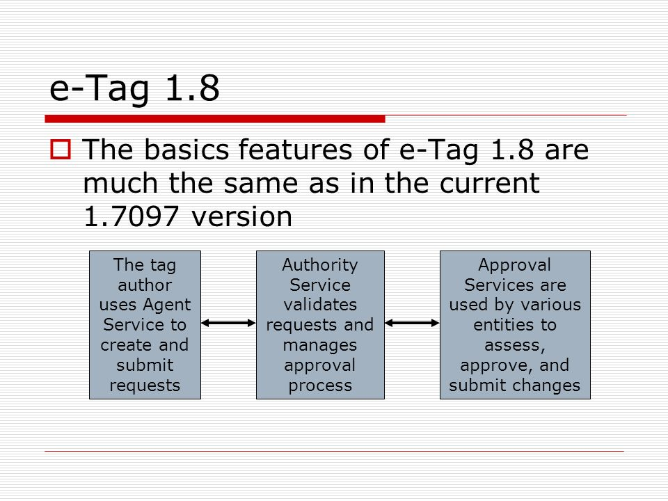 e-Tag 1.8 The basics features of e-Tag 1.8 are much the same as in the current 1.7097 version The tag author uses Agent Service to create and submit requests Authority Service validates requests and manages approval process Approval Services are used by various entities to assess, approve, and submit changes