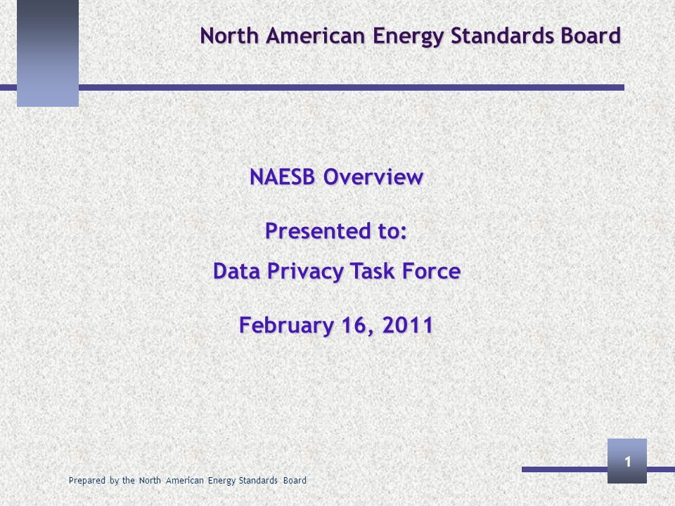 Prepared by the North American Energy Standards Board 1 North American Energy Standards Board NAESB Overview Presented to: Data Privacy Task Force February 16, 2011