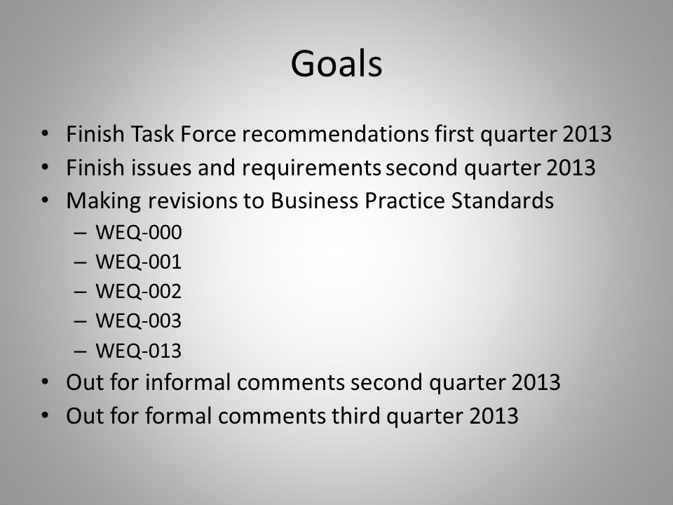 Goals Finish Task Force recommendations first quarter 2013 Finish issues and requirements second quarter 2013 Making revisions to Business Practice Standards – WEQ-000 – WEQ-001 – WEQ-002 – WEQ-003 – WEQ-013 Out for informal comments second quarter 2013 Out for formal comments third quarter 2013