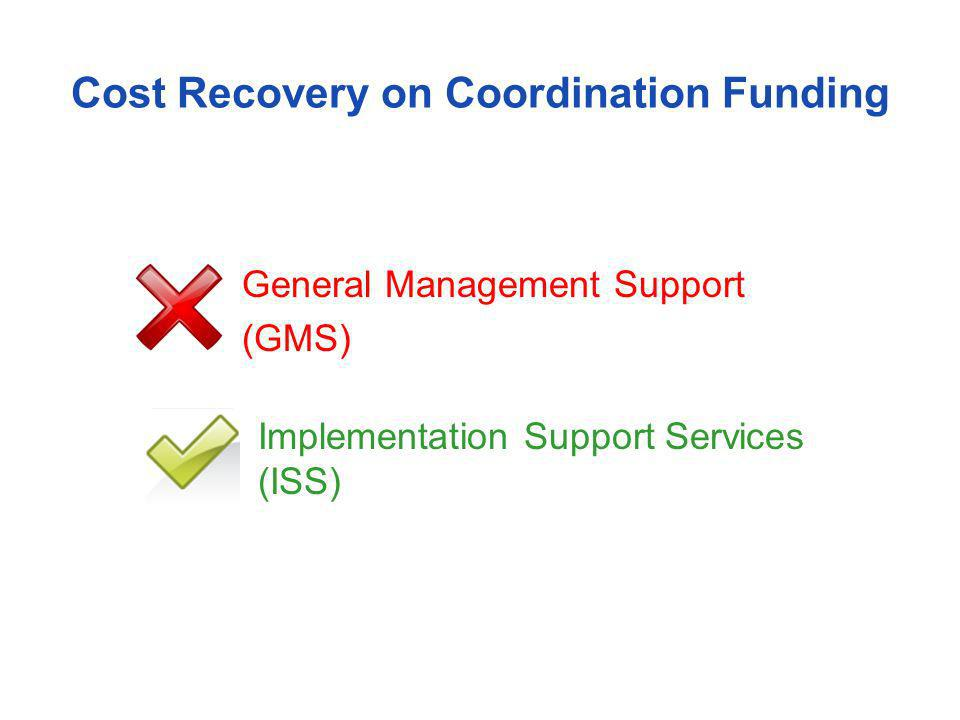 Cost Recovery on Coordination Funding General Management Support (GMS) Implementation Support Services (ISS)