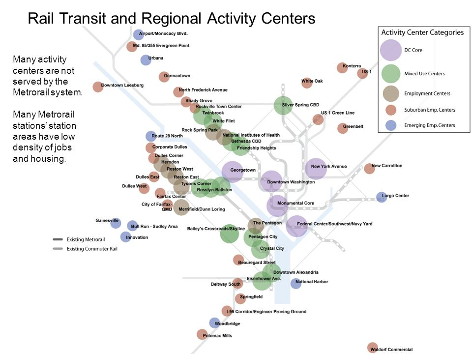 14 Rail Transit and Regional Activity Centers Many activity centers are not served by the Metrorail system.