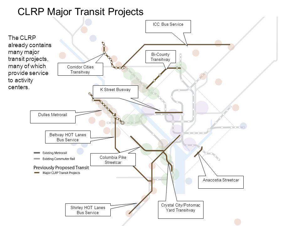 15 CLRP Major Transit Projects The CLRP already contains many major transit projects, many of which provide service to activity centers.
