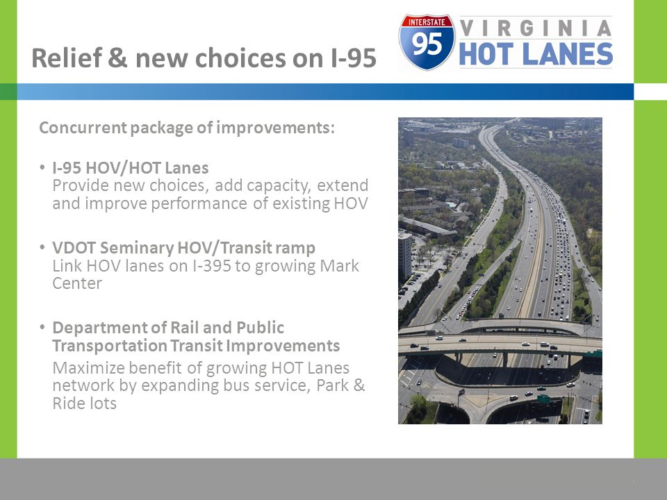The Title Would be Placed Here Relief & new choices on I-95 Concurrent package of improvements: I-95 HOV/HOT Lanes Provide new choices, add capacity, extend and improve performance of existing HOV VDOT Seminary HOV/Transit ramp Link HOV lanes on I-395 to growing Mark Center Department of Rail and Public Transportation Transit Improvements Maximize benefit of growing HOT Lanes network by expanding bus service, Park & Ride lots