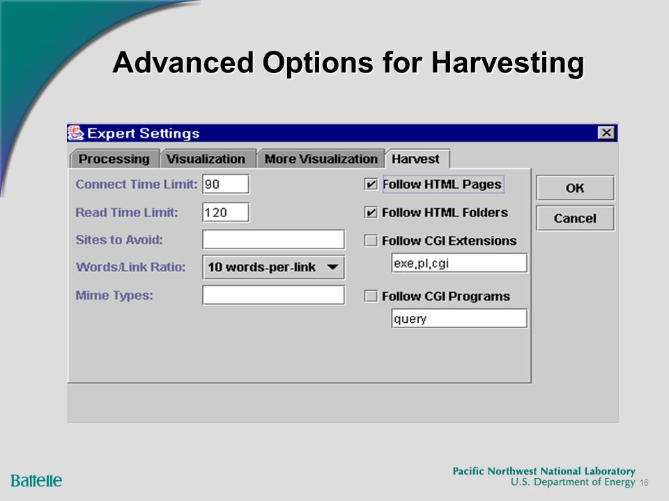 16 Advanced Options for Harvesting