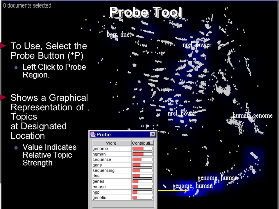 26 Probe Tool To Use, Select the Probe Button ( + P) Left Click to Probe Region.