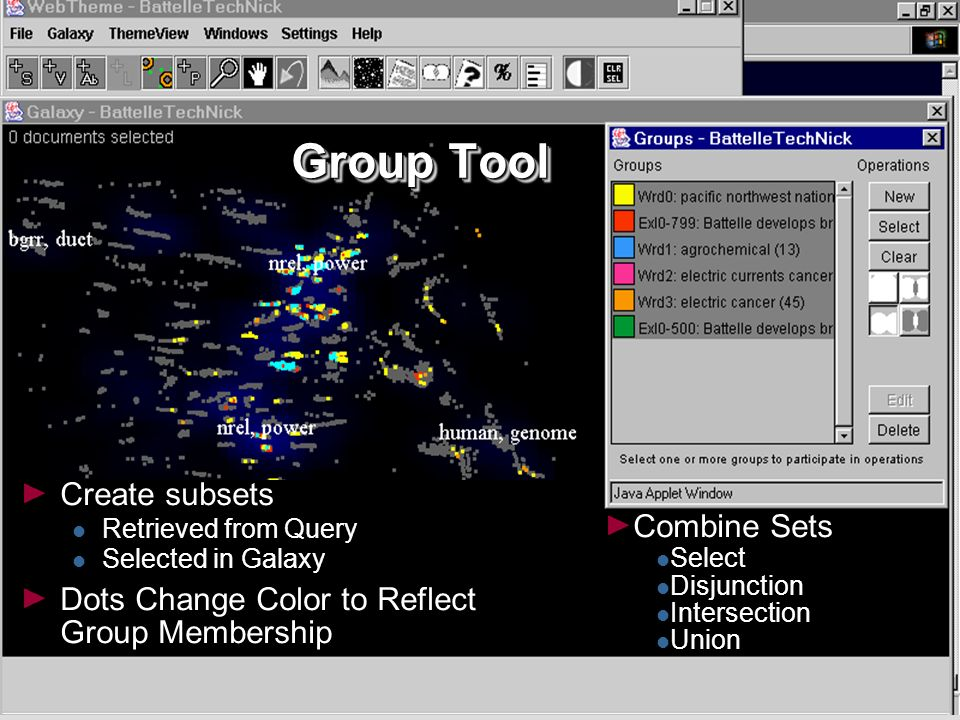 31 Group Tool Create subsets Retrieved from Query Selected in Galaxy Dots Change Color to Reflect Group Membership Combine Sets Select Disjunction Intersection Union