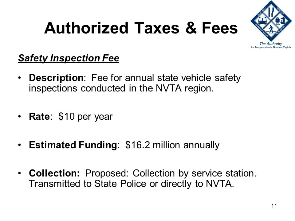 11 Authorized Taxes & Fees Safety Inspection Fee Description: Fee for annual state vehicle safety inspections conducted in the NVTA region.