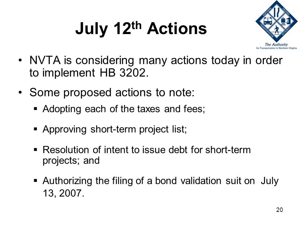 20 July 12 th Actions NVTA is considering many actions today in order to implement HB 3202.