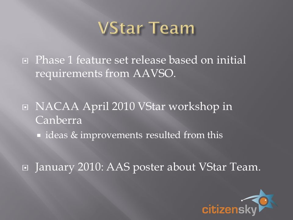 Phase 1 feature set release based on initial requirements from AAVSO.