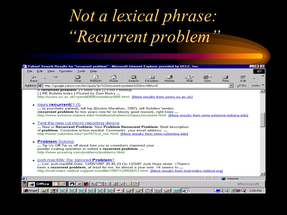 Not a lexical phrase: Recurrent problem