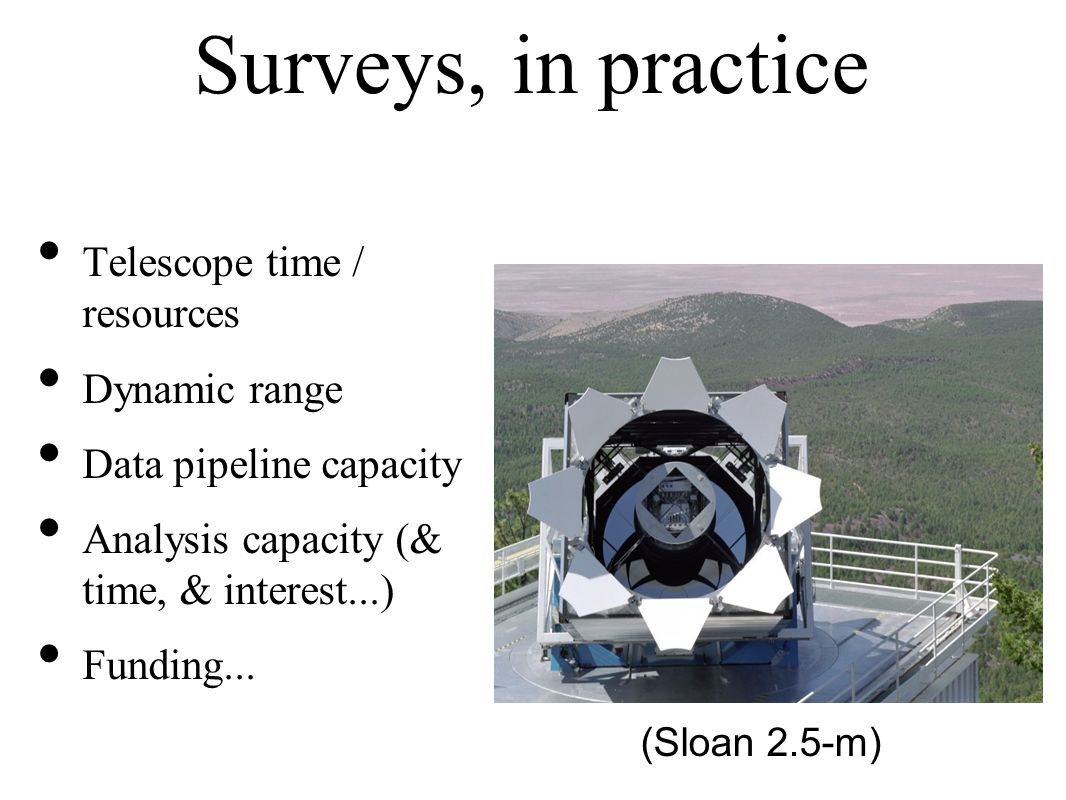 Surveys, in practice Telescope time / resources Dynamic range Data pipeline capacity Analysis capacity (& time, & interest...) Funding...