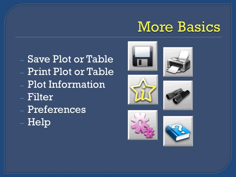 – Save Plot or Table – Print Plot or Table – Plot Information – Filter – Preferences – Help