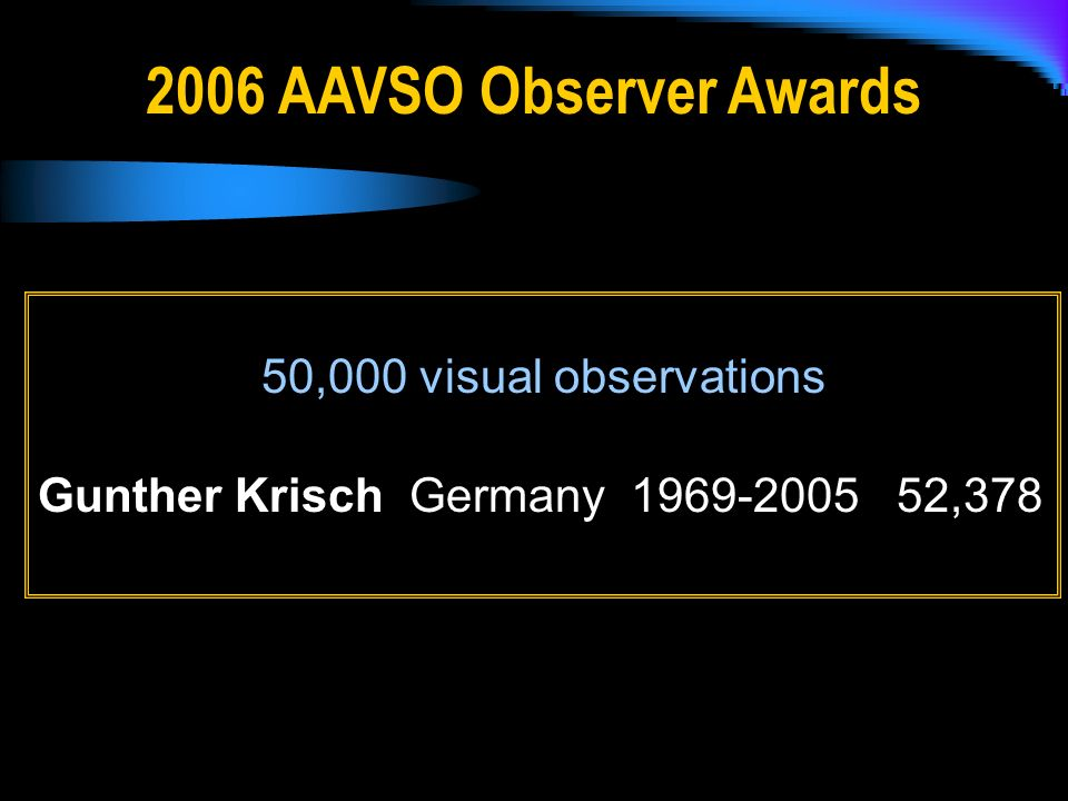 2006 AAVSO Observer Awards 50,000 visual observations Gunther Krisch Germany 1969-2005 52,378