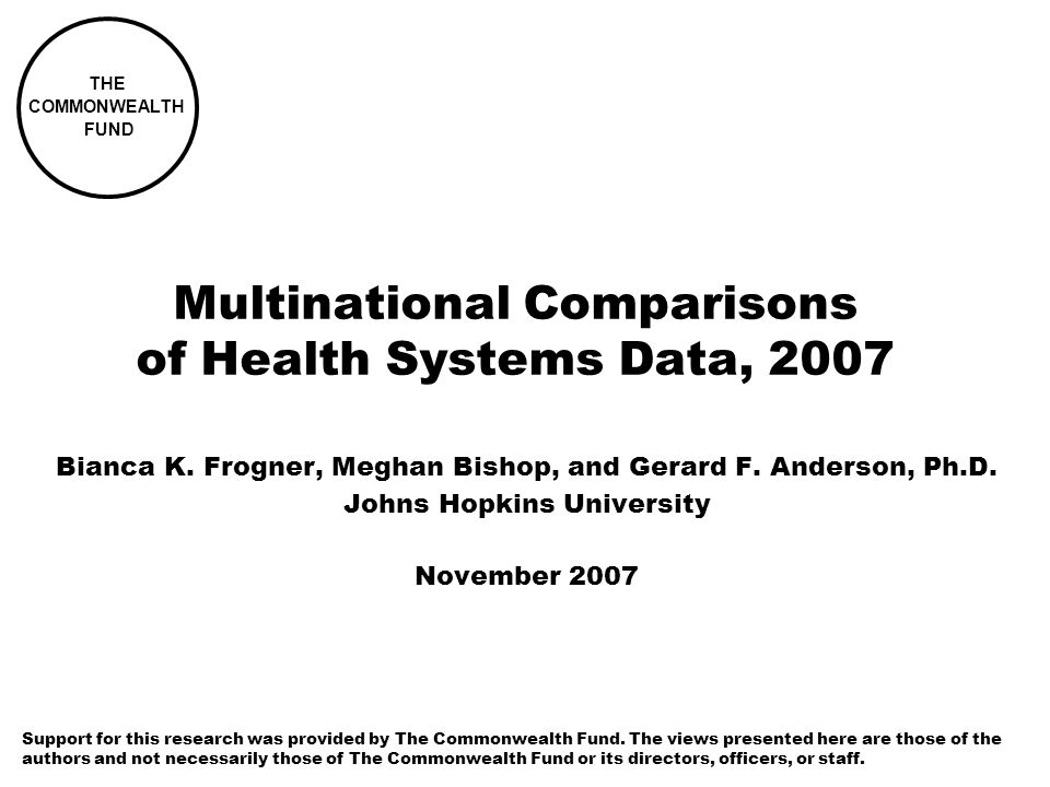 Multinational Comparisons of Health Systems Data, 2007 Bianca K.
