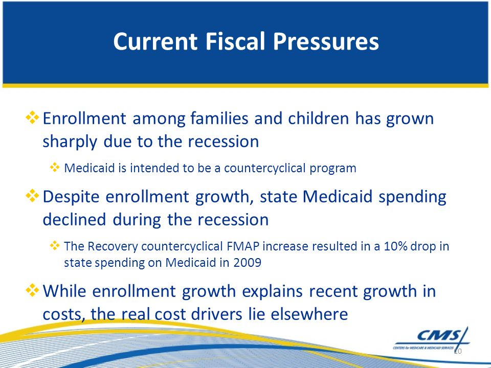 Current Fiscal Pressures Enrollment among families and children has grown sharply due to the recession Medicaid is intended to be a countercyclical program Despite enrollment growth, state Medicaid spending declined during the recession The Recovery countercyclical FMAP increase resulted in a 10% drop in state spending on Medicaid in 2009 While enrollment growth explains recent growth in costs, the real cost drivers lie elsewhere 10