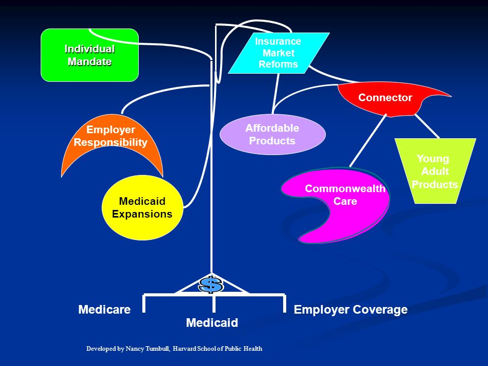 Medicare Medicaid Employer Coverage IndividualMandate Medicaid Expansions Employer Responsibility Insurance Market Reforms Affordable Products Young Adult Products Connector Commonwealth Care Developed by Nancy Turnbull, Harvard School of Public Health