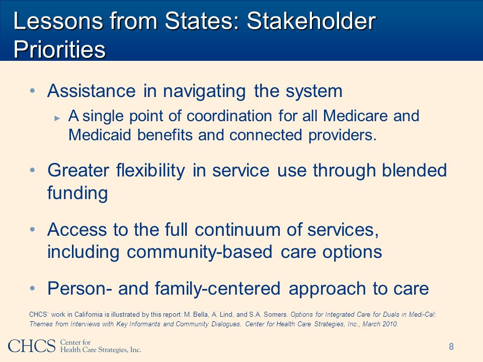 Lessons from States: Stakeholder Priorities Assistance in navigating the system A single point of coordination for all Medicare and Medicaid benefits and connected providers.