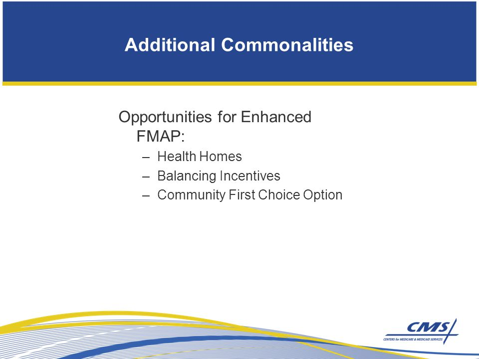 Additional Commonalities Opportunities for Enhanced FMAP: –Health Homes –Balancing Incentives –Community First Choice Option