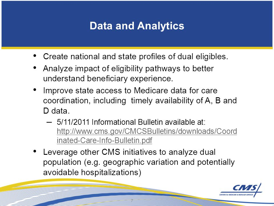 Data and Analytics Create national and state profiles of dual eligibles.