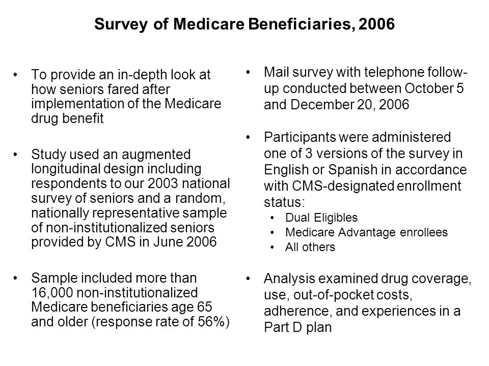 Survey of Medicare Beneficiaries, 2006 To provide an in-depth look at how seniors fared after implementation of the Medicare drug benefit Study used an augmented longitudinal design including respondents to our 2003 national survey of seniors and a random, nationally representative sample of non-institutionalized seniors provided by CMS in June 2006 Sample included more than 16,000 non-institutionalized Medicare beneficiaries age 65 and older (response rate of 56%) Mail survey with telephone follow- up conducted between October 5 and December 20, 2006 Participants were administered one of 3 versions of the survey in English or Spanish in accordance with CMS-designated enrollment status: Dual Eligibles Medicare Advantage enrollees All others Analysis examined drug coverage, use, out-of-pocket costs, adherence, and experiences in a Part D plan