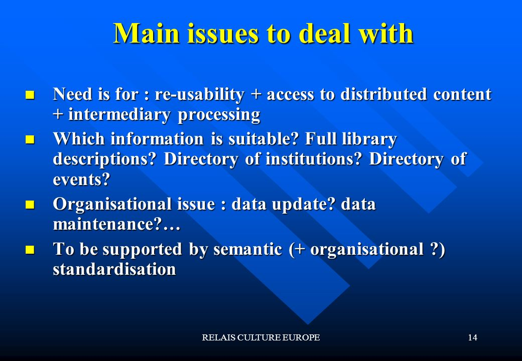 RELAIS CULTURE EUROPE14 Main issues to deal with Need is for : re-usability + access to distributed content + intermediary processing Need is for : re-usability + access to distributed content + intermediary processing Which information is suitable.