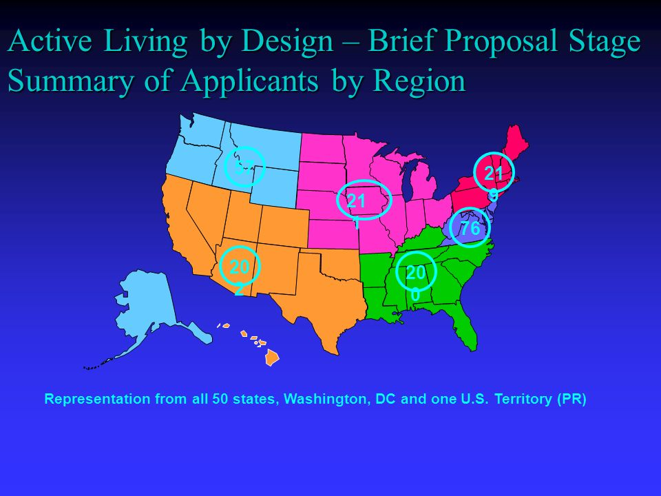 Active Living by Design – Brief Proposal Stage Summary of Applicants by Region Representation from all 50 states, Washington, DC and one U.S.