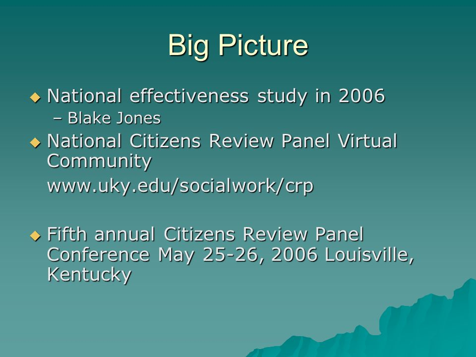 Big Picture National effectiveness study in 2006 National effectiveness study in 2006 –Blake Jones National Citizens Review Panel Virtual Community National Citizens Review Panel Virtual Communitywww.uky.edu/socialwork/crp Fifth annual Citizens Review Panel Conference May 25-26, 2006 Louisville, Kentucky Fifth annual Citizens Review Panel Conference May 25-26, 2006 Louisville, Kentucky