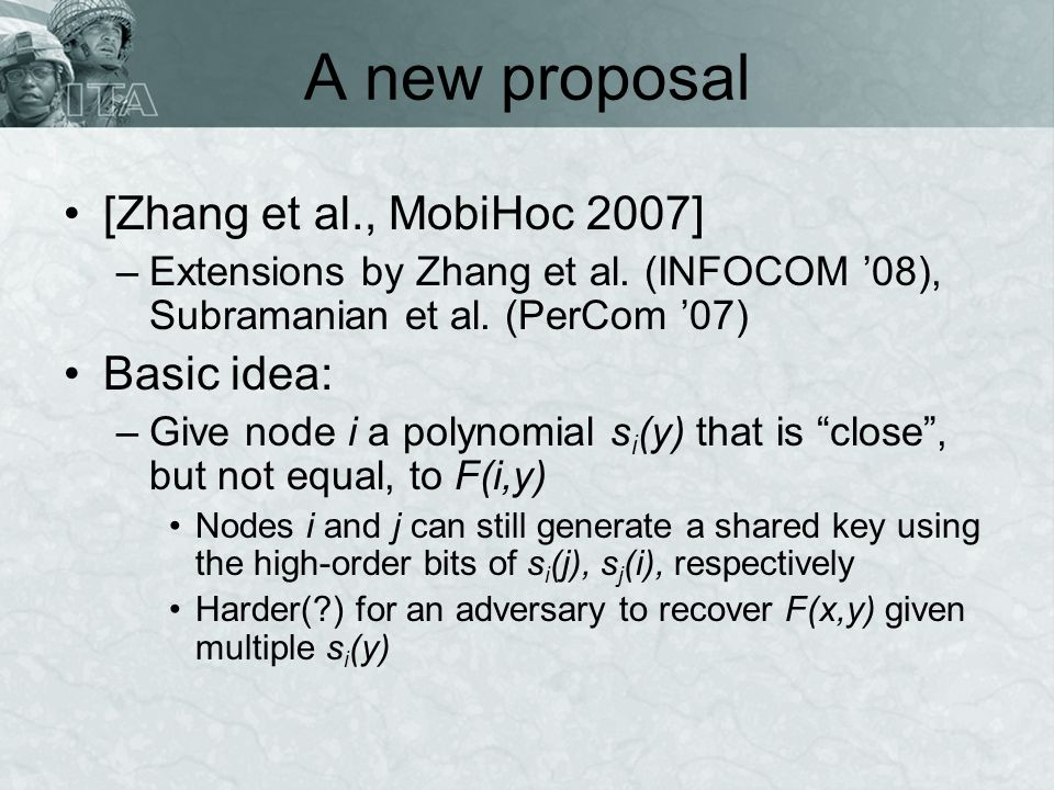 A new proposal [Zhang et al., MobiHoc 2007] –Extensions by Zhang et al.