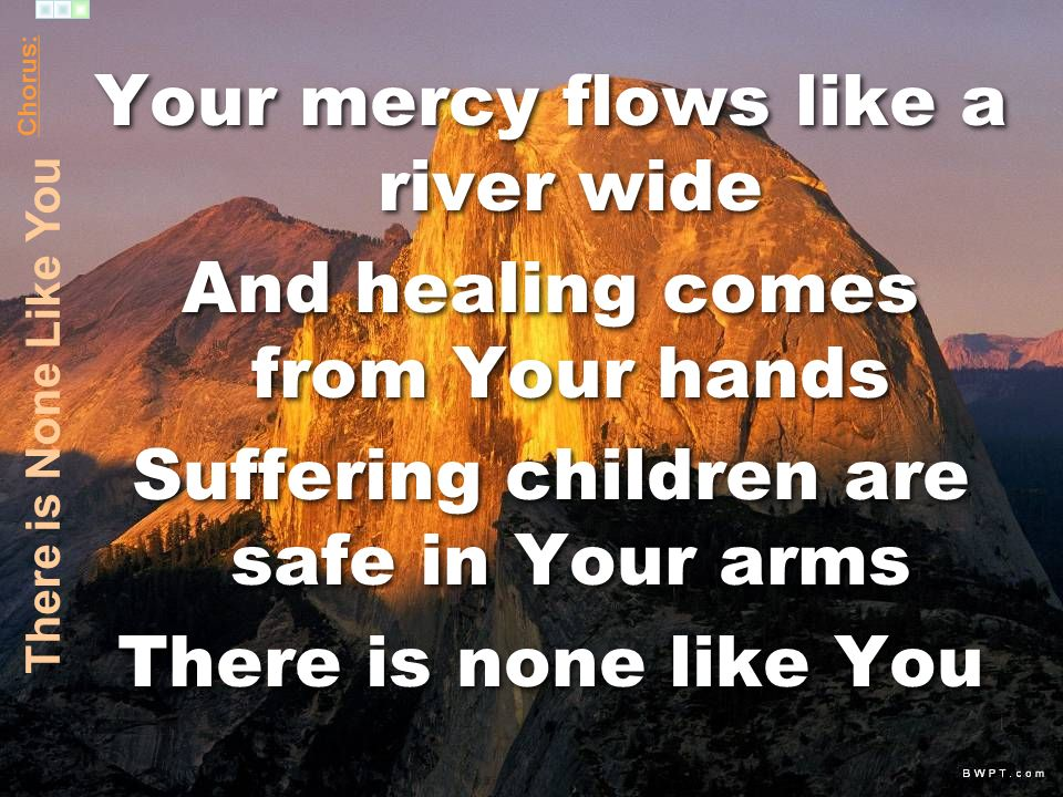 Your mercy flows like a river wide And healing comes from Your hands Suffering children are safe in Your arms There is none like You Your mercy flows like a river wide And healing comes from Your hands Suffering children are safe in Your arms There is none like You Chorus: There is None Like You