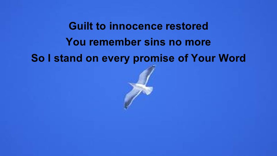 Guilt to innocence restored You remember sins no more So I stand on every promise of Your Word