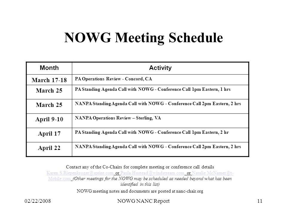 02/22/2008NOWG NANC Report11 NOWG Meeting Schedule Contact any of the Co-Chairs for complete meeting or conference call details Karen.S.Riepenkroger@sprint.com or Paula.Hustead@windstream.com or Natalie.McNamer@t- Mobile.com (Other meetings for the NOWG may be scheduled as needed beyond what has been identified in this list) Karen.S.Riepenkroger@sprint.comPaula.Hustead@windstream.comNatalie.McNamer@t- Mobile.com NOWG meeting notes and documents are posted at nanc-chair.org MonthActivity March 17-18 PA Operations Review - Concord, CA March 25 PA Standing Agenda Call with NOWG - Conference Call 1pm Eastern, 1 hrs March 25 NANPA Standing Agenda Call with NOWG - Conference Call 2pm Eastern, 2 hrs April 9-10 NANPA Operations Review – Sterling, VA April 17 PA Standing Agenda Call with NOWG - Conference Call 1pm Eastern, 2 hr April 22 NANPA Standing Agenda Call with NOWG - Conference Call 2pm Eastern, 2 hrs