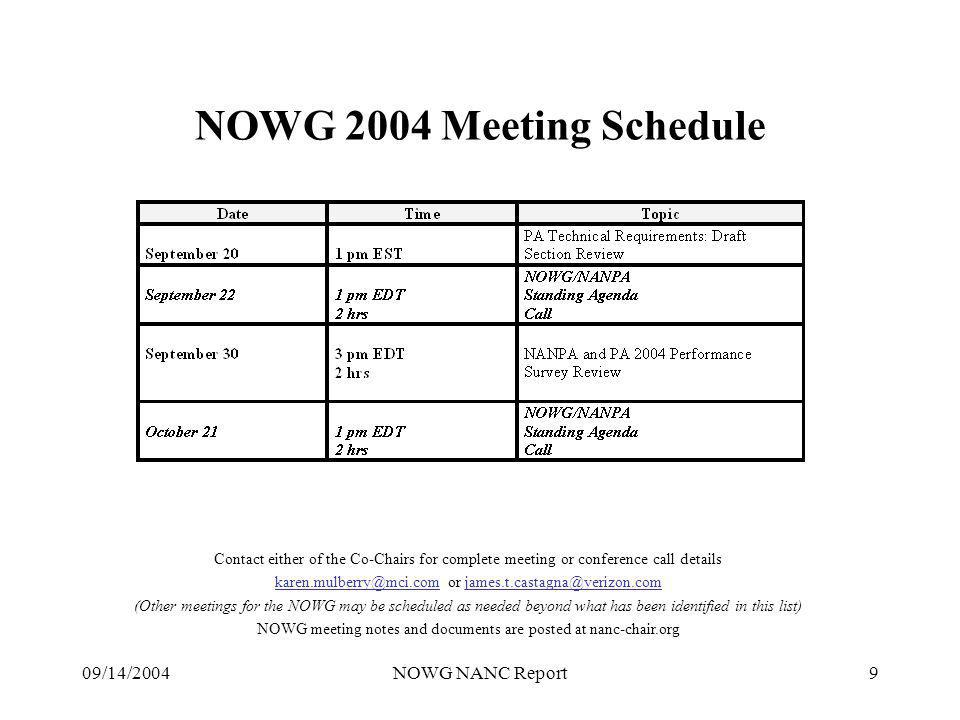09/14/2004NOWG NANC Report9 NOWG 2004 Meeting Schedule Contact either of the Co-Chairs for complete meeting or conference call details karen.mulberry@mci.com or james.t.castagna@verizon.com (Other meetings for the NOWG may be scheduled as needed beyond what has been identified in this list) NOWG meeting notes and documents are posted at nanc-chair.org