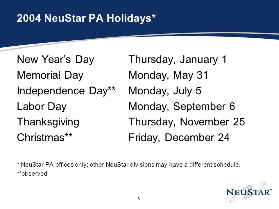NeuStar PA Holidays* New Years Day Thursday, January 1 Memorial DayMonday, May 31 Independence Day**Monday, July 5 Labor DayMonday, September 6 ThanksgivingThursday, November 25 Christmas**Friday, December 24 * NeuStar PA offices only; other NeuStar divisions may have a different schedule.