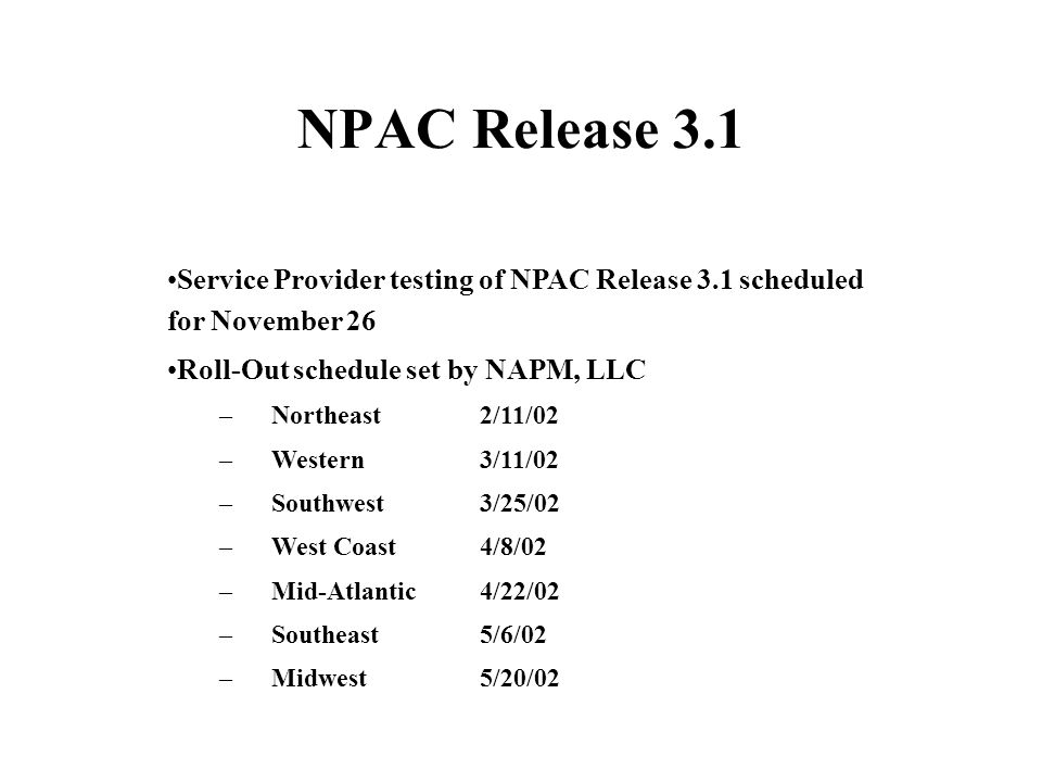 NPAC Release 3.1 Service Provider testing of NPAC Release 3.1 scheduled for November 26 Roll-Out schedule set by NAPM, LLC – Northeast2/11/02 – Western3/11/02 – Southwest3/25/02 – West Coast4/8/02 – Mid-Atlantic4/22/02 – Southeast5/6/02 – Midwest5/20/02