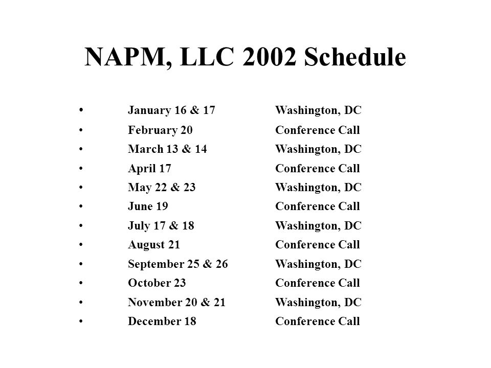 NAPM, LLC 2002 Schedule January 16 & 17 Washington, DC February 20Conference Call March 13 & 14 Washington, DC April 17Conference Call May 22 & 23 Washington, DC June 19Conference Call July 17 & 18 Washington, DC August 21Conference Call September 25 & 26Washington, DC October 23Conference Call November 20 & 21Washington, DC December 18Conference Call