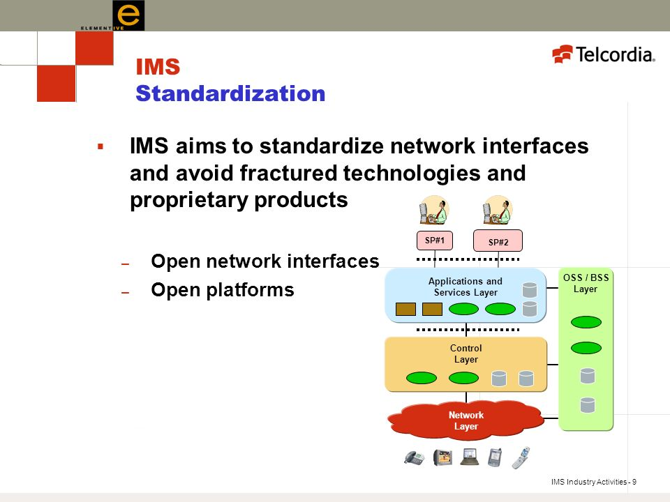 IMS Industry Activities - 9 IMS Standardization IMS aims to standardize network interfaces and avoid fractured technologies and proprietary products – Open network interfaces – Open platforms Applications and Services Layer OSS / BSS Layer Control Layer Network Layer SP#2 SP#1