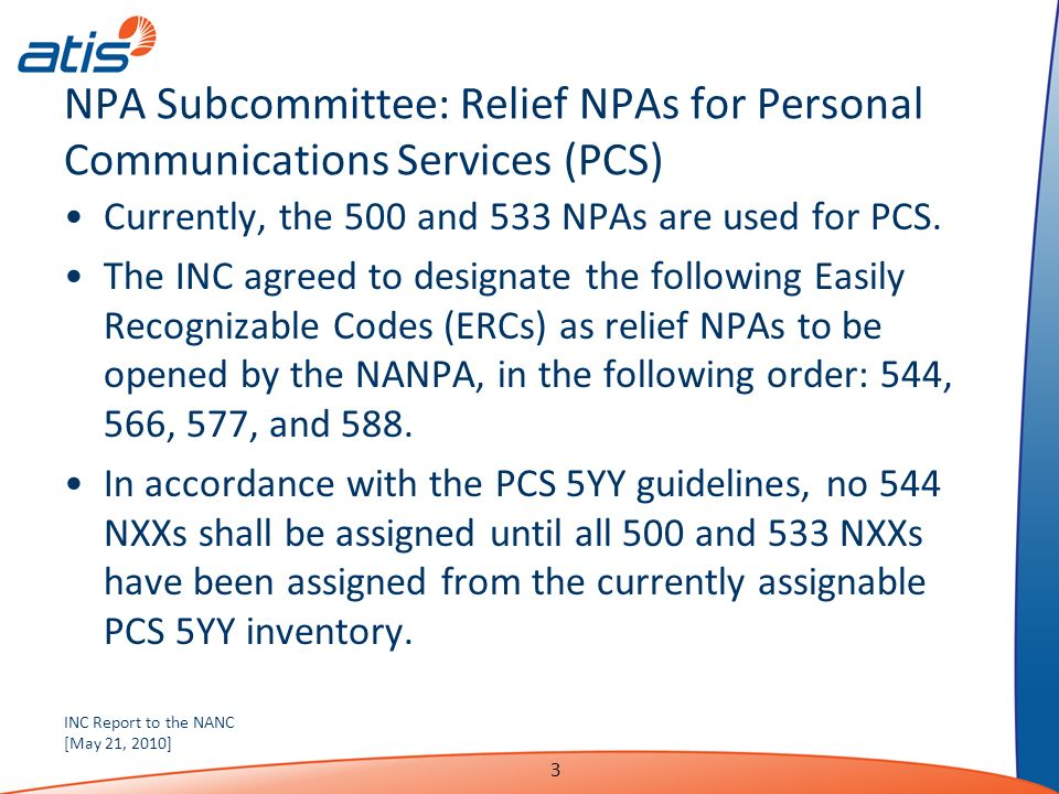 INC Report to the NANC [May 21, 2010] 3 NPA Subcommittee: Relief NPAs for Personal Communications Services (PCS) Currently, the 500 and 533 NPAs are used for PCS.