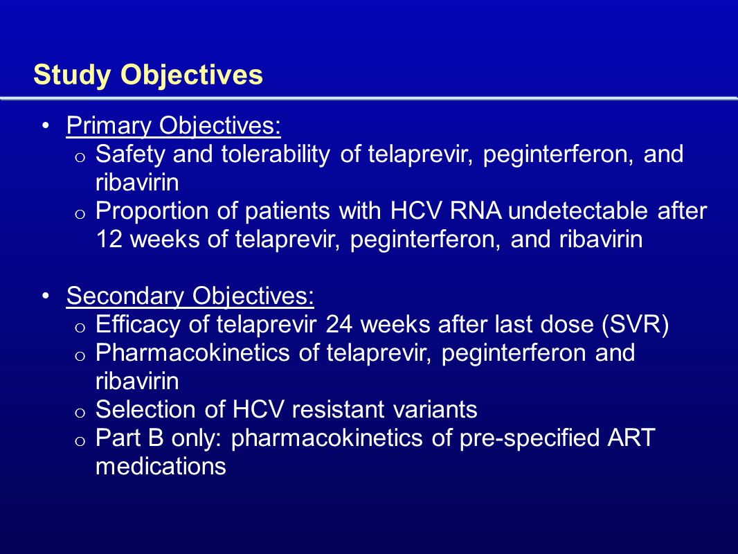 Study Objectives Primary Objectives: o Safety and tolerability of telaprevir, peginterferon, and ribavirin o Proportion of patients with HCV RNA undetectable after 12 weeks of telaprevir, peginterferon, and ribavirin Secondary Objectives: o Efficacy of telaprevir 24 weeks after last dose (SVR) o Pharmacokinetics of telaprevir, peginterferon and ribavirin o Selection of HCV resistant variants o Part B only: pharmacokinetics of pre-specified ART medications